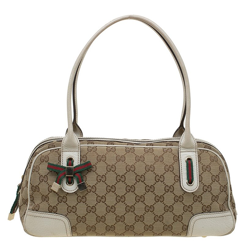 dade9549adbe ... Gucci Beige/Off White GG Canvas and Leather Princy Boston Bag.  nextprev. prevnext