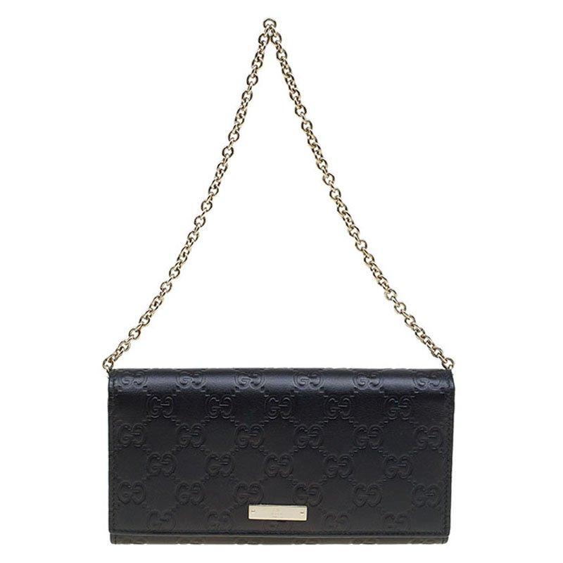 89cccab51ae5a ... Gucci Black Guccissima Leather Wallet On Chain. nextprev. prevnext