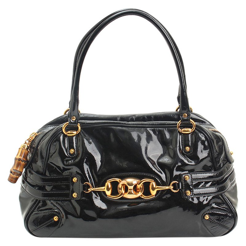 be83dfb09c0 Buy Gucci Black Patent Leather Wave Boston Bag 87813 at best price