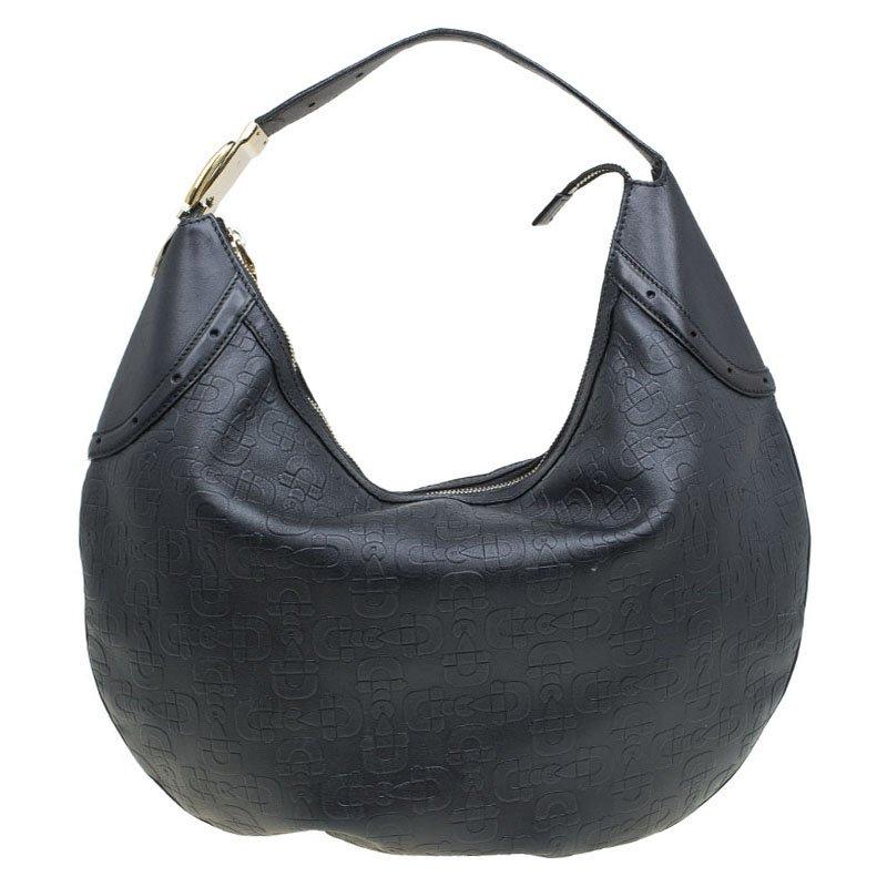 0dc3ae8d696 ... Gucci Black Leather Horsebit Embossed Buckle Hobo. nextprev. prevnext
