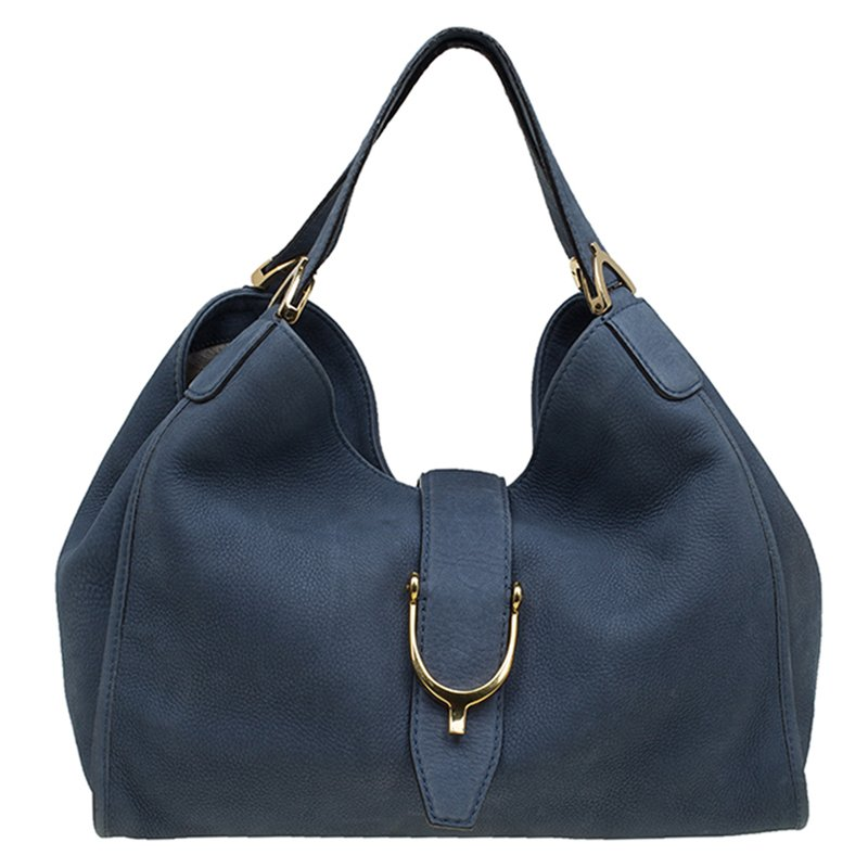 250607ceda72 ... Gucci Blue Soft Leather Stirrup Top Handle Bag. nextprev. prevnext