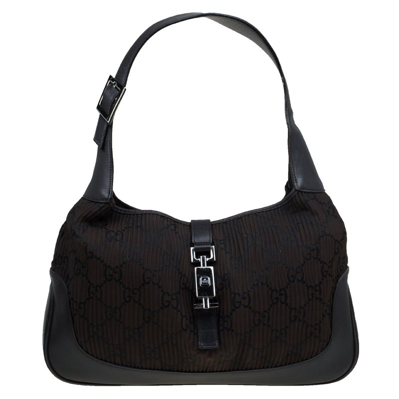 a4a99922f395 Buy Gucci Dark Brown Leather and Fabric Pleated Jackie O Hobo 90216 at best  price | TLC
