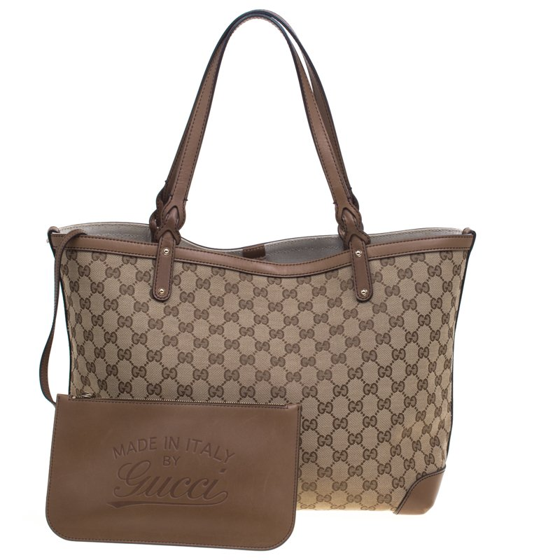 7cd3f913dea Buy Gucci Beige Brown GG Canvas Medium Craft Tote 92501 at best ...