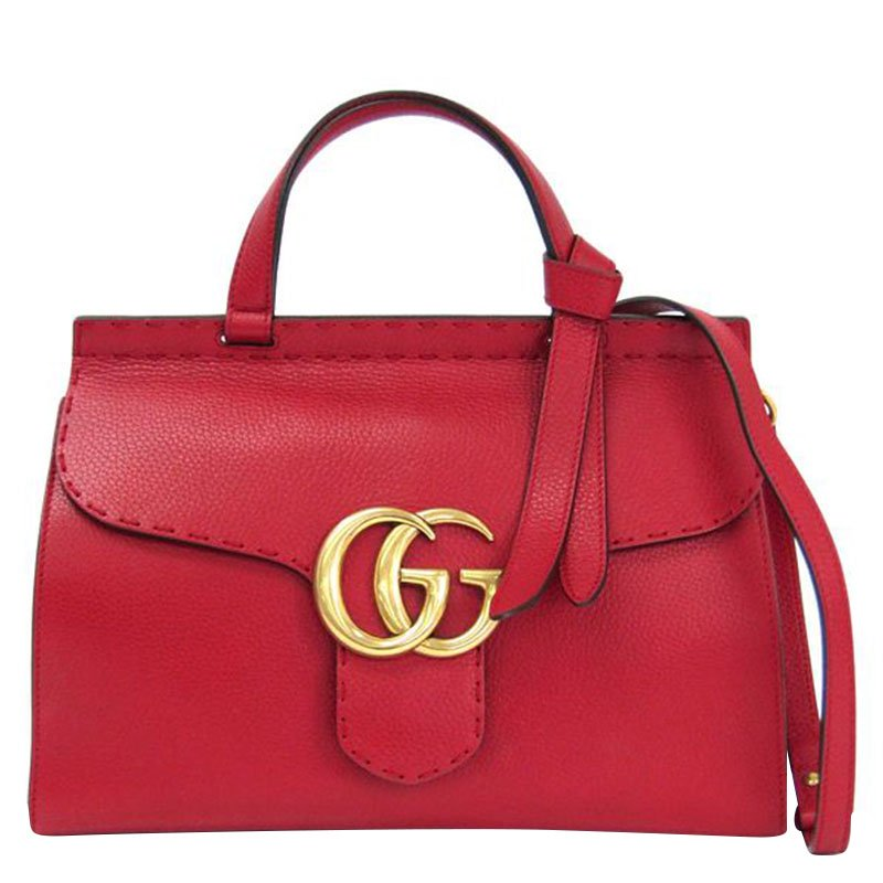 1efe8255314a Buy Gucci Red Leather GG Marmont Top Handle Bag 92578 at best price ...