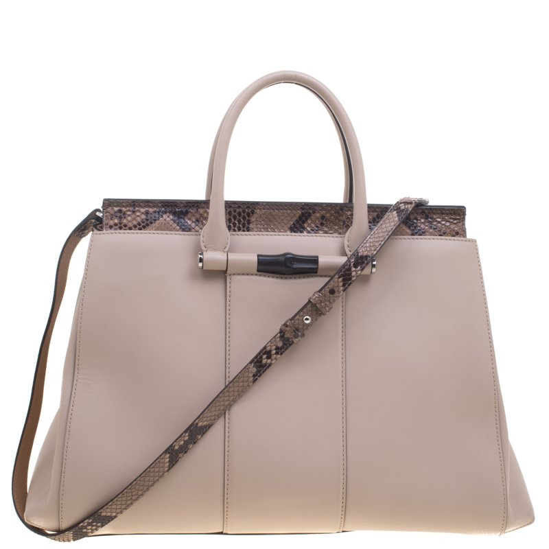 d8e8851f768 Buy Gucci Beige Leather and Python Lady Bamboo Top Handle Bag 93309 ...