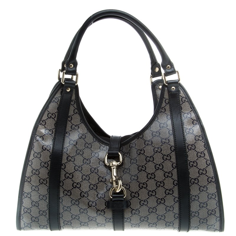 608e06ddc94 Buy Gucci Black GG Crystal Canvas Jackie O Hobo 94228 at best price ...