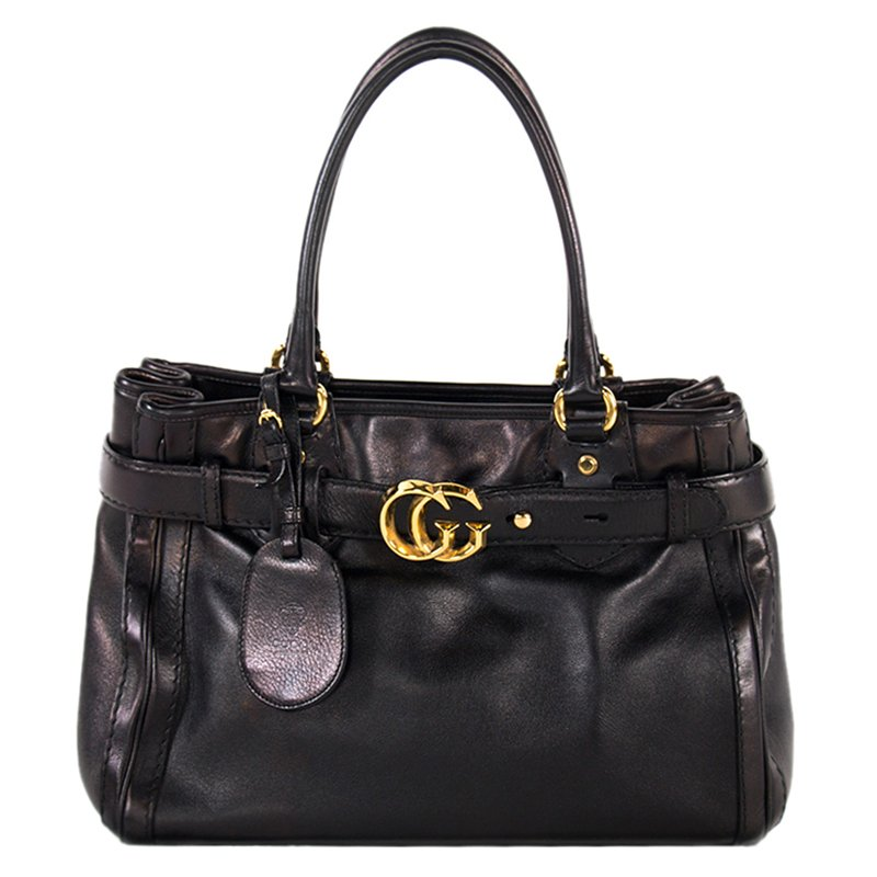 9f754458b3c Buy Gucci Black Leather Large GG Running Tote 95465 at best price