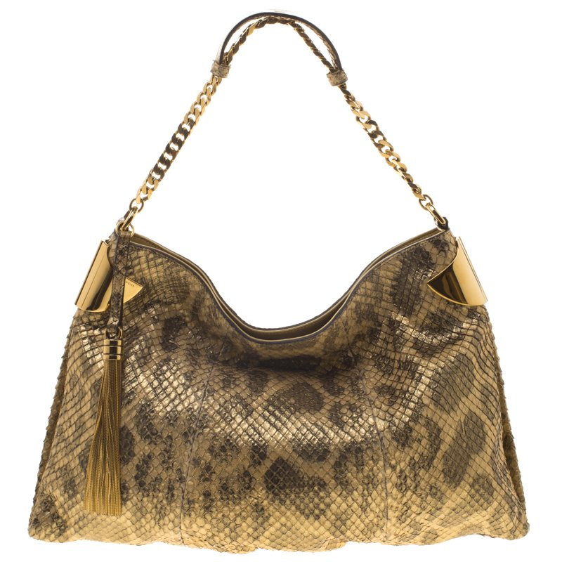 780c3ae83275 Buy Gucci Gold Anaconda Medium Gucci 1970 Shoulder Bag 95599 at best ...