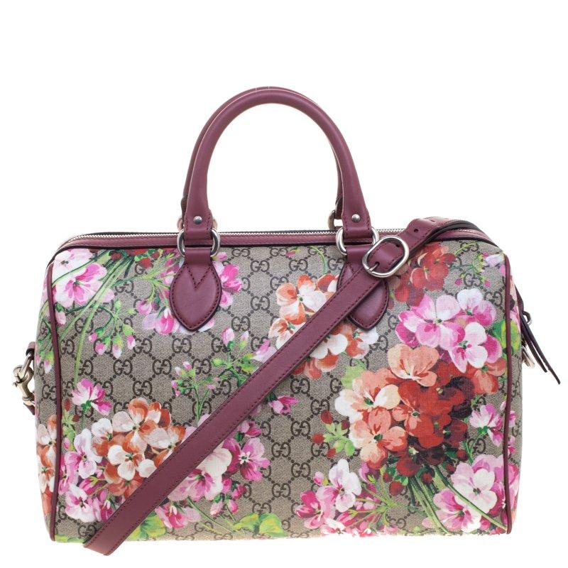 7ee61e0454e4 Gucci Pink GG Supreme Canvas Medium Blooms Boston Bag. nextprev. prevnext