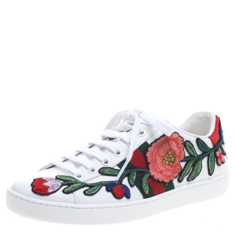 64ab7c80b ... Gucci White Floral Embroidered Leather Ace Low Top Sneakers Size 35.5.  nextprev. prevnext