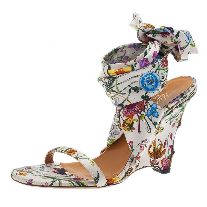 09f10c046 ... Gucci Flora Satin Ankle Strap Wedge Sandals Size 38. nextprev. prevnext