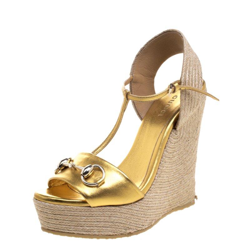 8500b90adc0 ... Gucci Gold Metallic Leather Horsebit T-Strap Espadrille Wedge Sandals  Size 36. nextprev. prevnext