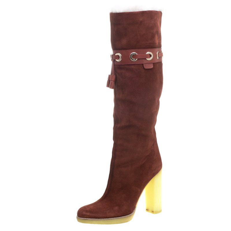 463e12a62 ... Gucci Maroon Suede Fur Lined Knee High Boots Size 38. nextprev. prevnext