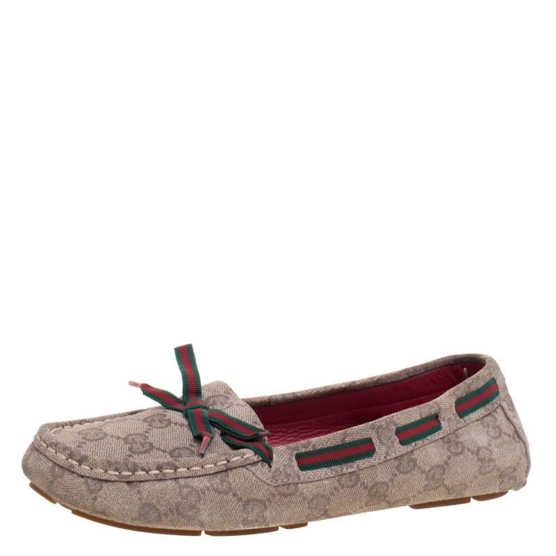 c2e4de703cf Buy Gucci Beige GG Suede Web Ribbon Detail Loafers Size 38 106863 at ...