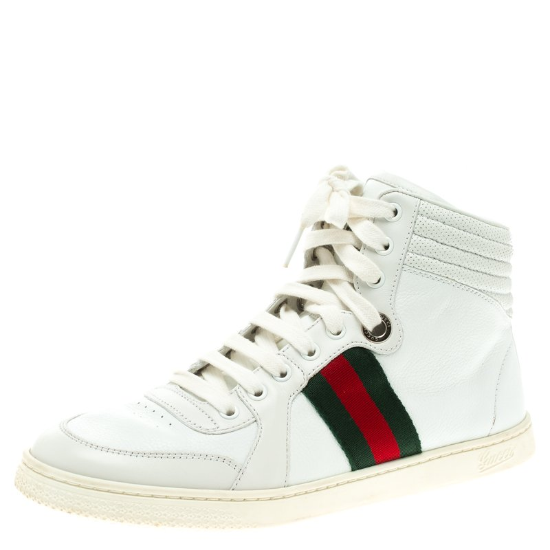 91923ea9cd1 ... Gucci White Leather Alta Coda Web Detail High Top Sneakers Size 39.  nextprev. prevnext