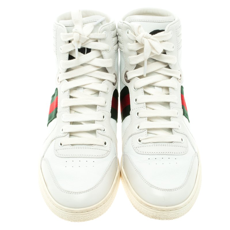 Gucci White Leather Alta Coda Web Detail High Top Sneakers Size 39