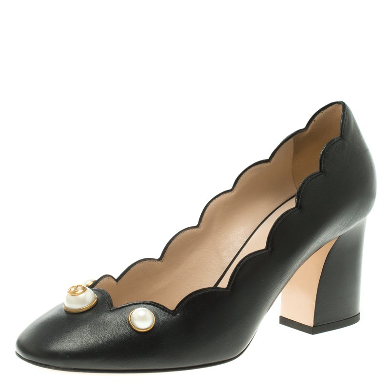 24a1624d7 ... Gucci Black Scalloped Leather Willow Pearl Embellished Block Heel Pumps  Size 38.5. nextprev. prevnext