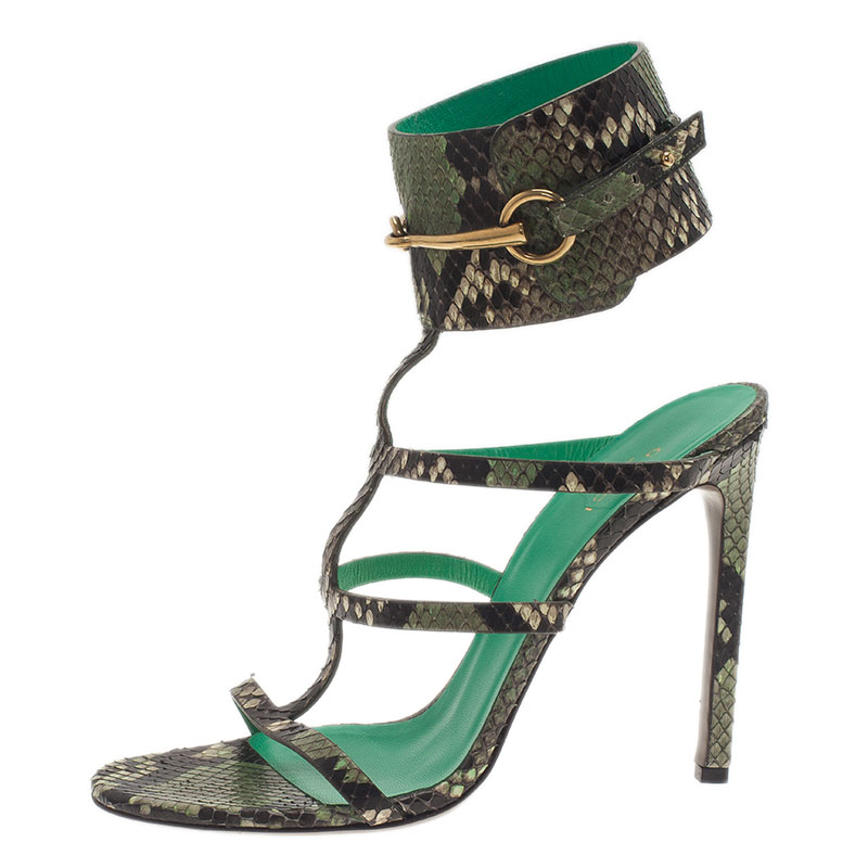 6a68a6ebb802 Buy Gucci Green Python  Ursula  Ankle Strap Cage Sandals Size 39 38716 at  best price