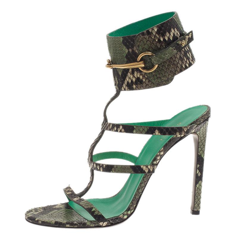7fb6f083de50ab Buy Gucci Green Python  Ursula  Ankle Strap Cage Sandals Size 39 ...