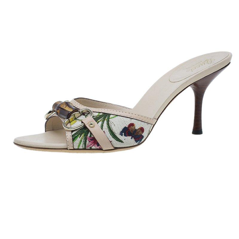 2563d0ee191 ... Gucci Flora Canvas Bamboo Horsebit Slides Size 38. nextprev. prevnext