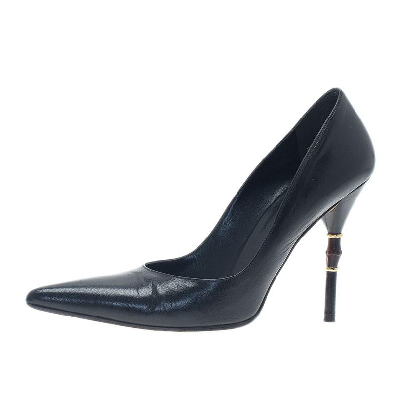 9c5ffaac9bbc Buy Gucci Black Leather Malibu Bamboo Heel Pointed Toe Pumps Size 38 ...