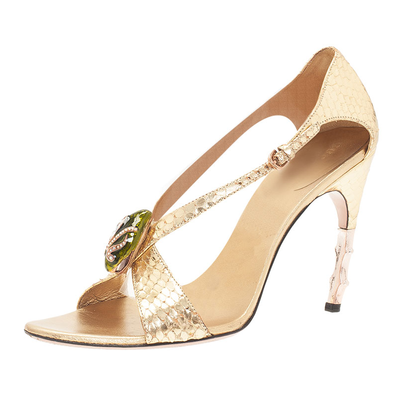 c67f4ed2ed1f Buy Gucci Metallic Gold Python Jeweled Bamboo Heel Sandals Size 38.5 ...