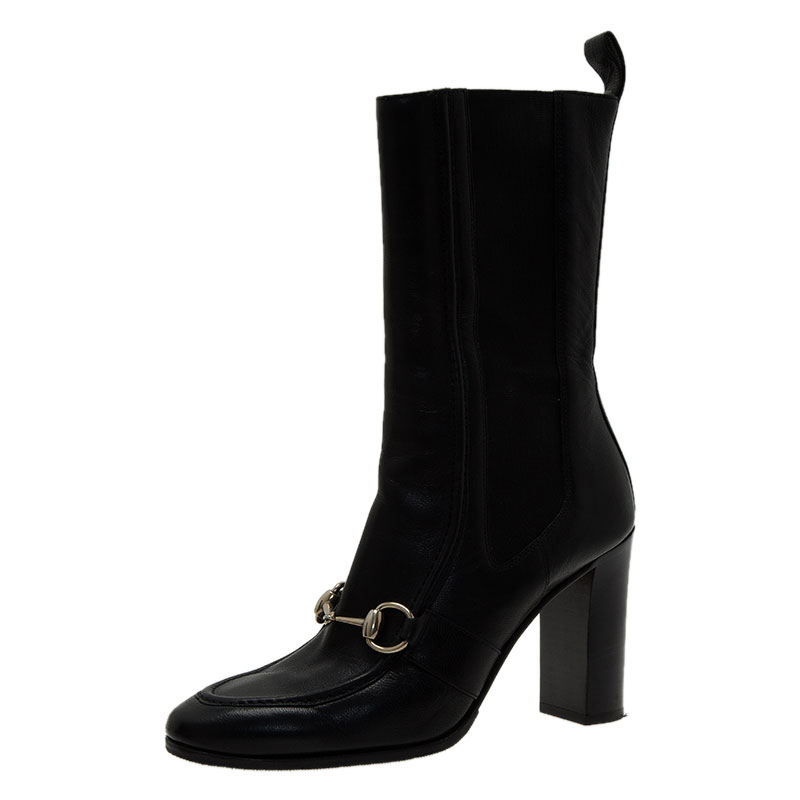 5d9002a37 ... Gucci Black Leather and Elastic Horsebit Ankle Boots Size 36. nextprev.  prevnext