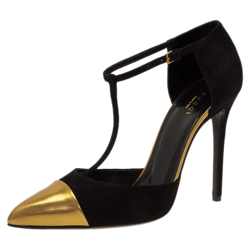 ba4bf7aafaf Gucci Black and Gold Suede Cap Toe T-Bar Pumps Size 39