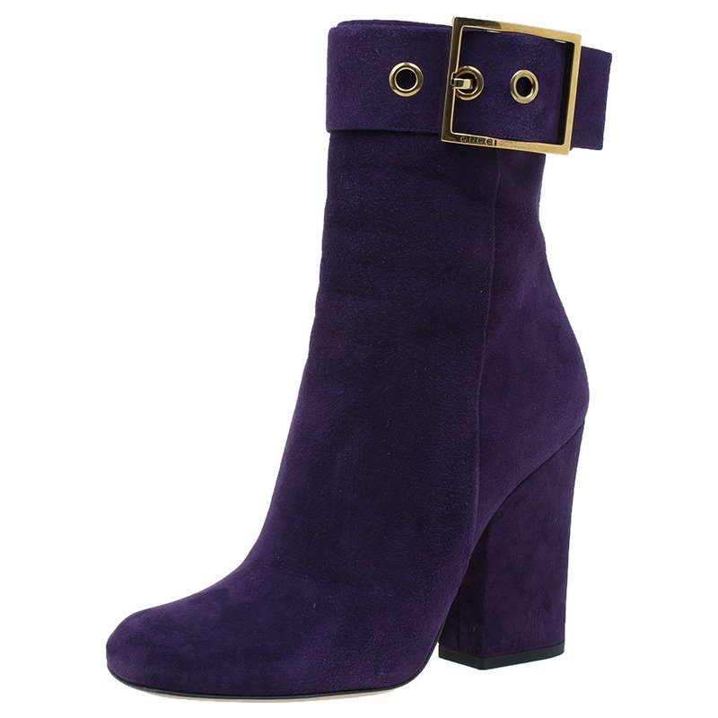 b87bba84f ... Gucci Purple Suede Buckle Ankle Boots Size 38. nextprev. prevnext