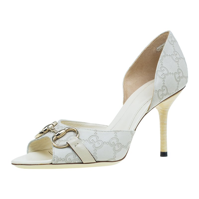 Gucci Beige Guccisima Leather D'Orsay Pumps Size 38