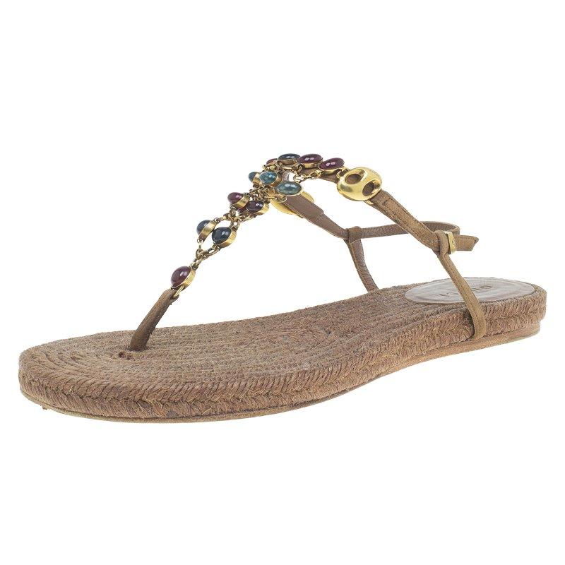 de15df91ce0c Buy Gucci Brown Suede Camel Jeweled Jute Thong Sandals Size 37.5 ...