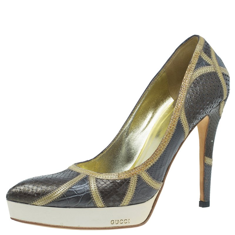 Gucci Two Tone Python and Croc Leather Pointed Toe Platform Pumps Size 36