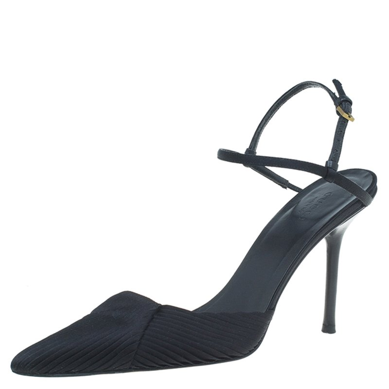 cfb633870257 ... Gucci Black Pleated Satin and Leather Ankle Strap Pointed Toe Sandals  Size 37.5. nextprev. prevnext