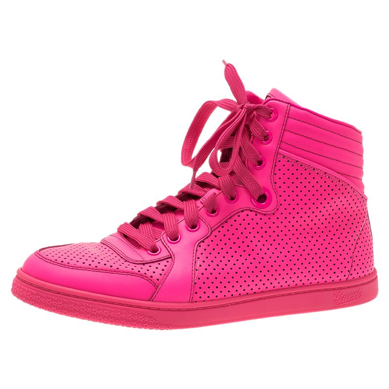 70158dcfe50 Buy Gucci Neon Pink Leather Interlocking G High Top Sneakers Size 38 ...