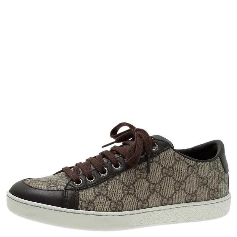 90ca00bca ... Gucci Brown GG Supreme Canvas and Leather Brooklyn Sneakers Size 37.  nextprev. prevnext