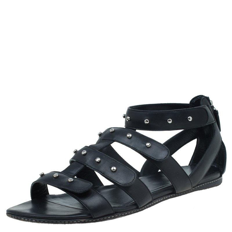 Gucci Black Leather Studded Gladiator Sandals Size 38