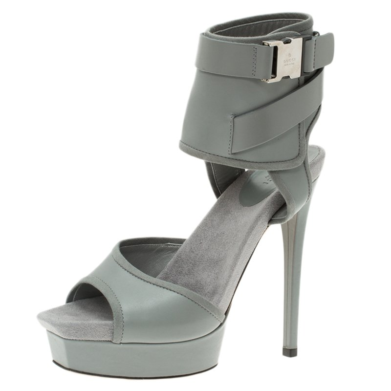 027196e74b8f9 Buy Gucci Grey Leather and Fabric Gail Ankle Cuff Platform Sandals ...