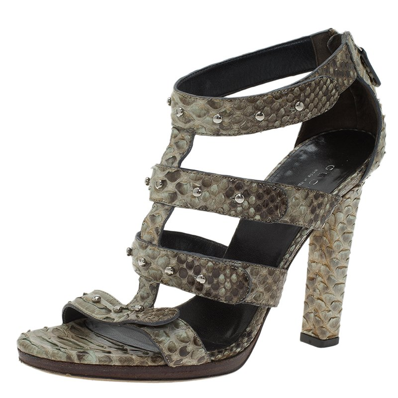 73db3db07e0 Buy Gucci Two Tone Studded Python Sigourney Cage Sandals Size 37 ...