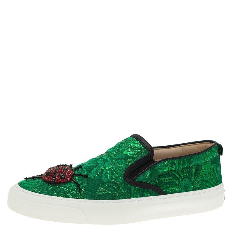 7c6d8594ec2 Buy Gucci Green Brocade Crystal Lady Bug Slip On Sneakers Size 37.5 ...