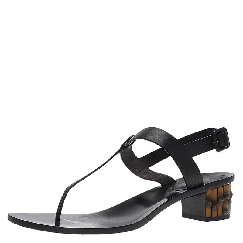 b33e020dfa978 ... Gucci Black Leather Dahlia Bamboo Heel Thong Sandals Size 40. nextprev.  prevnext