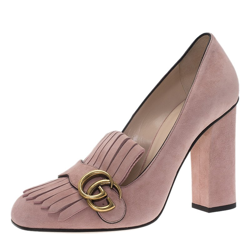 c21ad6d0c88 Buy Gucci Blush Pink Suede Fringe Marmont Loafer Pumps Size 39.5 ...