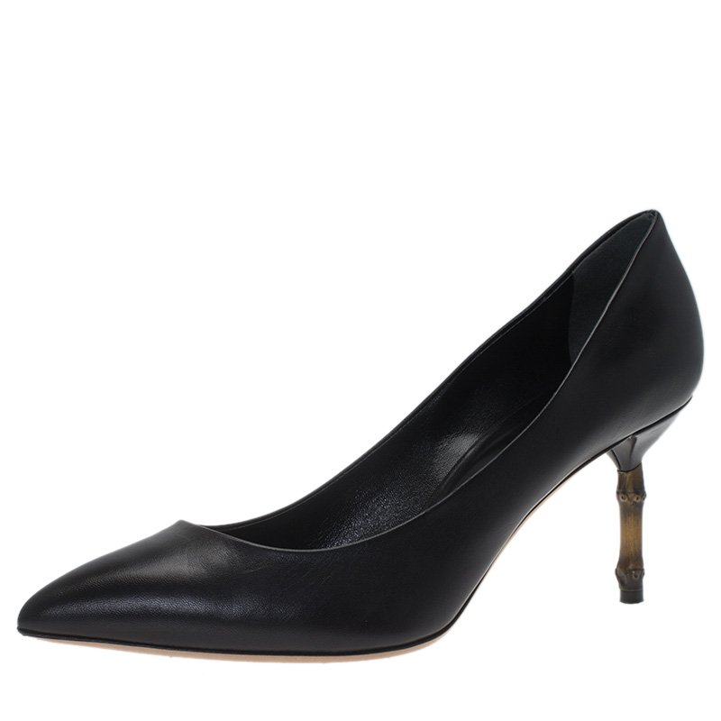 Gucci Black Leather Kristen Bamboo Heel Pumps Size 39