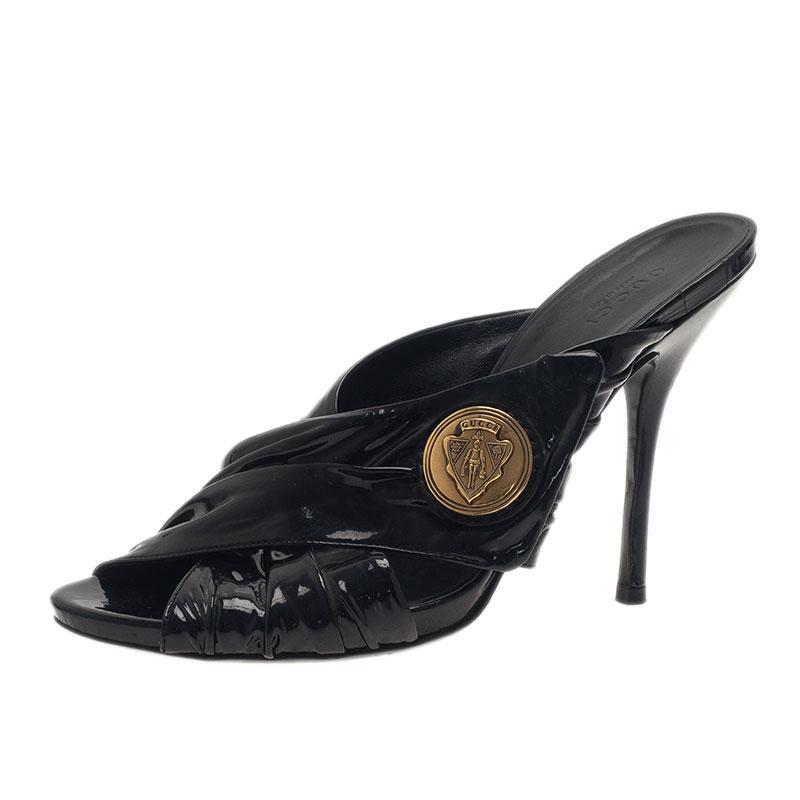 Gucci Black Patent Hysteria Clogs Size 37.5