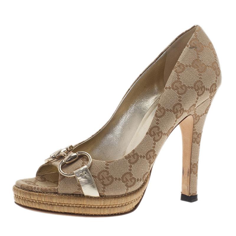 474b0161820 ... Gucci Guccissima Canvas Horsebit Peep Toe Platform Pumps Size 36.5.  nextprev. prevnext