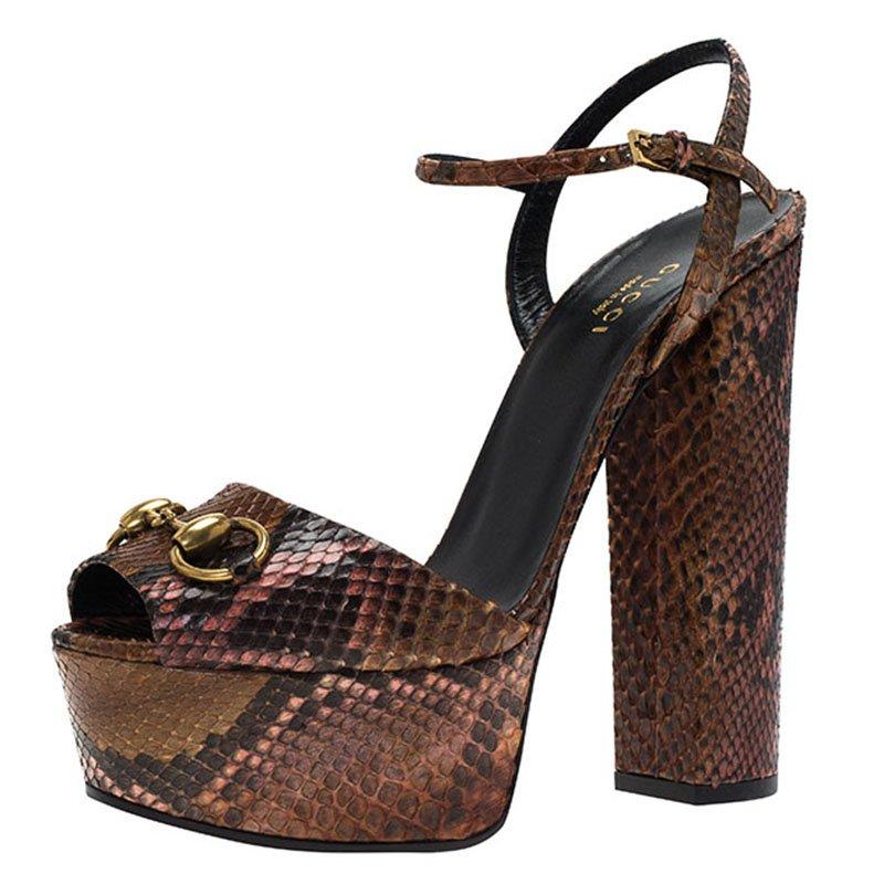 84a6c281e8f5 ... Gucci Brown Python Claudie Horsebit Platform Sandals Size 37. nextprev.  prevnext