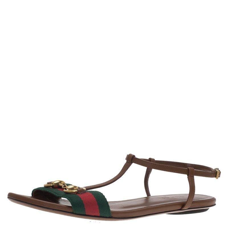 45feb3a7dfe Buy Gucci Brown Leather Web Detail Liliana Horsebit Flat Sandals ...