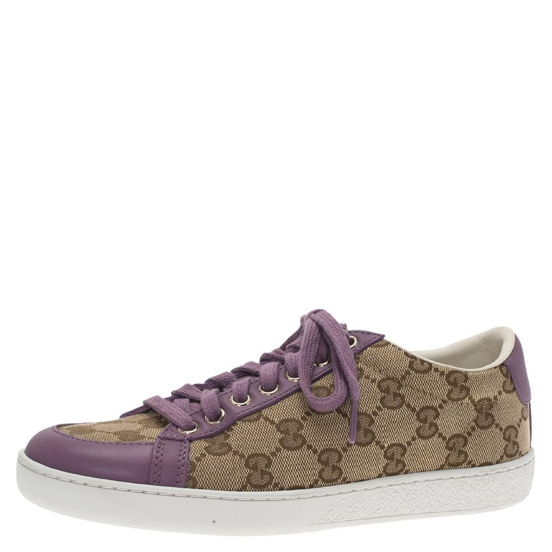 f04fa745c4f ... Gucci Purple Leather and Guccissima Canvas Sneakers Size 35. nextprev.  prevnext