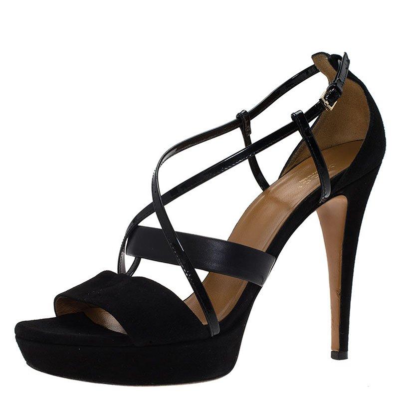 gucci suede platform sandal