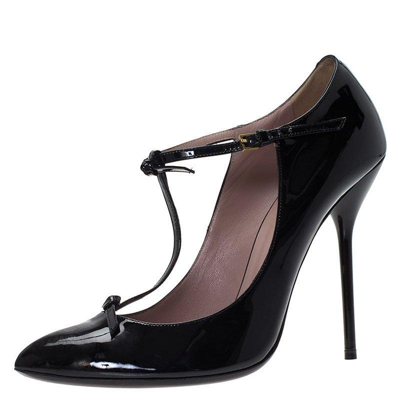 9c79839680c ... Gucci Black Patent Beverly T Strap Pumps Size 40. nextprev. prevnext
