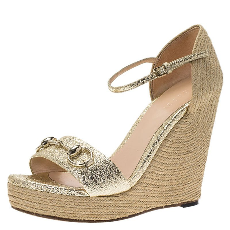 e9d41b86bbc ... Gucci Gold Crackled Leather Carolina Horsebit Espadrille Wedge Sandals  Size 36.5. nextprev. prevnext